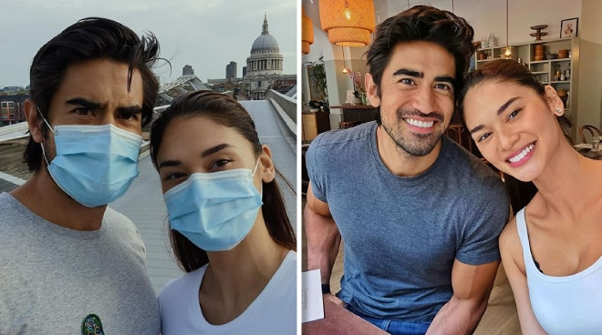 Pia Wurtzbach and Jeremy Jauncey enjoy a stroll in London while exercising safety protocols