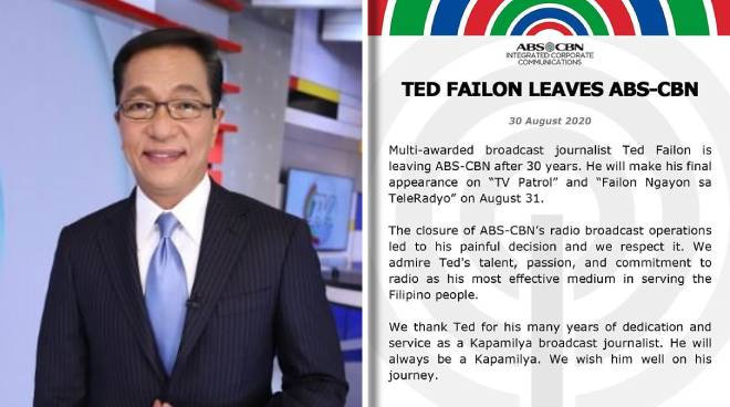 After 30 years, Ted Failon is saying goodbye to ABS-CBN