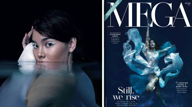 Catriona Gray does an underwater shoot for the latest cover of Mega Magazine