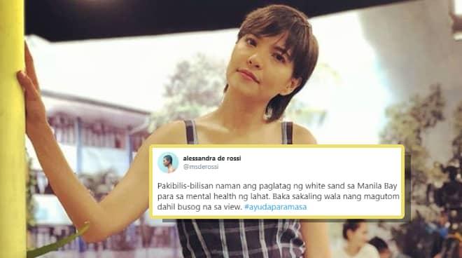 Alessandra de Rossi slams government's move to dump 'white sand' in Manila Bay