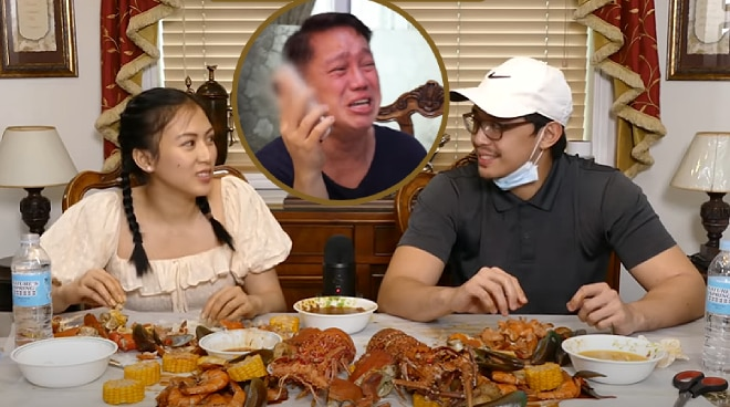 WATCH: Alex Gonzaga and Mikee Morada prank uncle Jojo in seafood mukbang vlog
